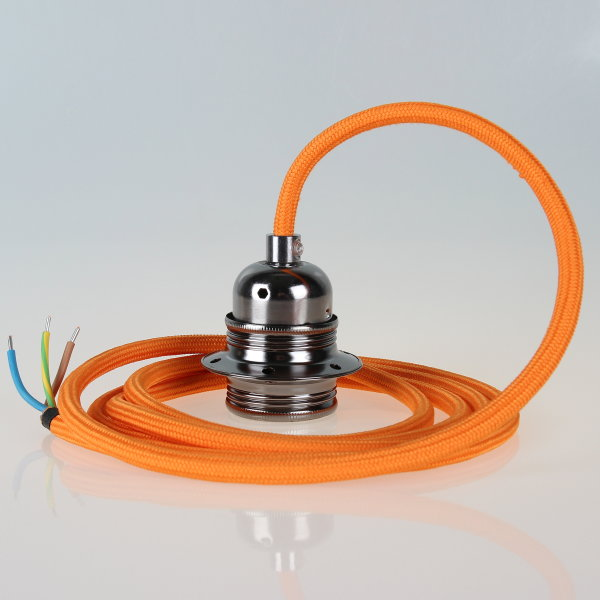 Textilkabel Pendelleitung orange mit E27 Fassung Metall schwarz-chrom und 2 Schraubringe