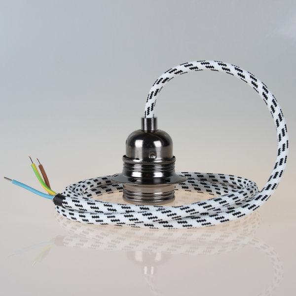Textilkabel Pendelleitung schwarz-weiß mit E27 Fassung Metall schwarz-chrom und 2 Schraubringe