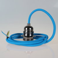 Textilkabel Pendelleitung blau mit E27 Fassung Metall...