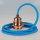 Textilkabel Pendelleitung blau mit E27 Fassung Metall Kupfer und 2 Schraubringe