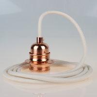 Textilkabel Pendelleitung elfenbein E27 Fassung Metall...