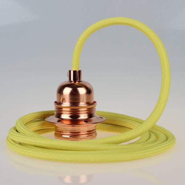 Textilkabel Pendelleitung gelb E27 Fassung Metall Kupfer und 2 Schraubringe