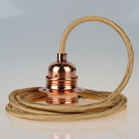 Textilkabel Pendelleitung gold E27 Fassung Metall Kupfer und 2 Schraubringe