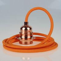 Textilkabel Pendelleitung orange E27 Fassung Metall...