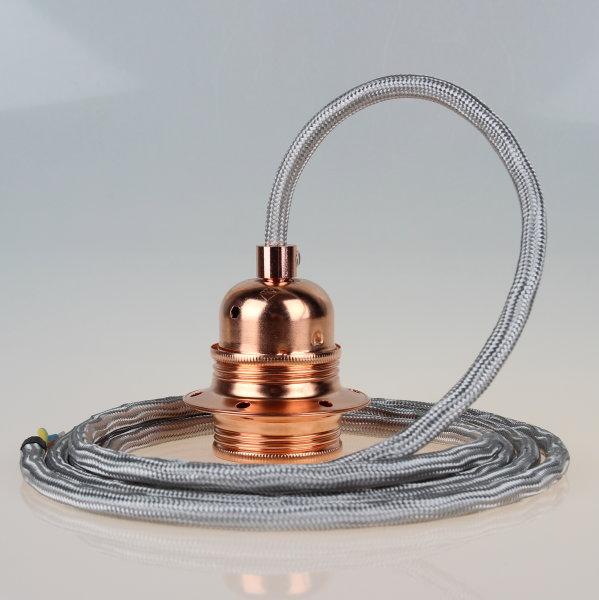 Textilkabel Pendelleitung silber E27 Fassung Metall Kupfer und 2 Schraubringe