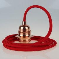 Textilkabel Pendelleitung rot E27 Fassung Metall Kupfer...