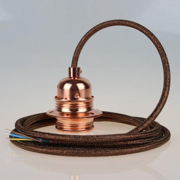 Textilkabel braun metallic mit E27 Fassung Metall Kupfer und 2 Schraubringe