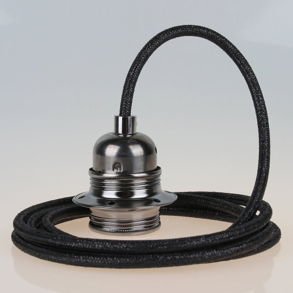 Textilkabel schwarz metallic mit E27 Fassung Metall schwarz-chrom und 2 Schraubringe