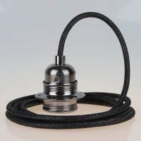 Textilkabel schwarz metallic mit E27 Fassung Metall...