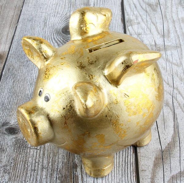 """Spardose Sparschwein """"Goldy"""" Höhe 12cm goldfarben"""