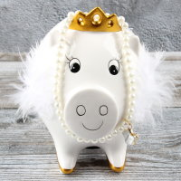 """Spardose Luxus Sparschwein """"Luxury Pig"""" Höhe 12cm weiß aus Keramik"""