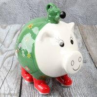 """Spardose Sparschwein """"Gartenfee"""" Höhe 15cm aus Keramik"""
