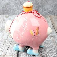 """Spardose Sparschwein """"Backfee"""" Höhe 12cm aus Keramik"""