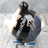 """Spardose Sparschwein """"Grillkönig"""" Höhe 15cm aus Keramik"""