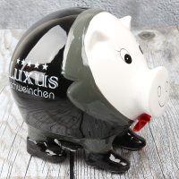 """Spardose Luxus Sparschwein """"Luxury Pig"""" Höhe 12cm aus Keramik schwarz"""