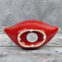 "Spardose Lippen ""The Kiss"" Länge 20cm aus Keramik rot"