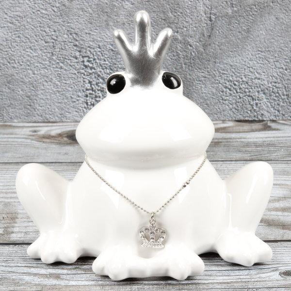 "Spardose Frosch ""King of Frog"" Höhe 14cm aus Keramik weiss"