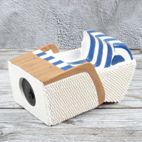 "Spardose Strandkorb maritim ""Beachchair"" Höhe 15,5cm blau weiss"