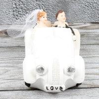 """Spardose Hochzeitspaar Auto """"Wedding Car"""" Länge 17cm weiss"""