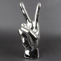 "Deko Keramik Hand ""Peace"" 24,5cm silber"