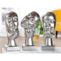 """Deko Design Skulptur denkendes Gesicht """"Thinking One"""" aus Keramik 30cm"""