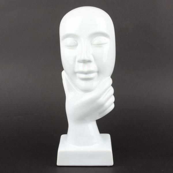 """Deko Design Skulptur denkendes Gesicht """"Thinking Three"""" aus Keramik weiß 30cm"""