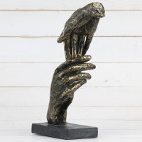 "Deko Design Skulptur ""Two Hands"" aus Polypropylen 29cm Gold/schwarz"