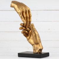 "Deko Design Skulptur ""Two Hands"" aus Polypropylen 29cm gold"