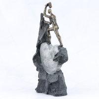 """Deko Design Skulptur Figur Stein Herz """"Heart"""" aus Polypropylen 37cm bronzefarben"""