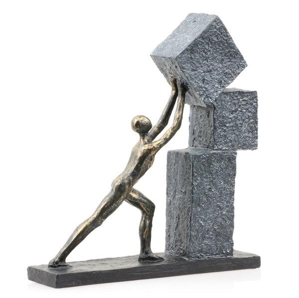 """Deko Design Skulptur Figur """"Stacking"""" aus Polypropylen 30cm bronzefarben"""