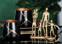 "Deko Design Skulptur Figur ""Familie"" 19cm goldfarben"